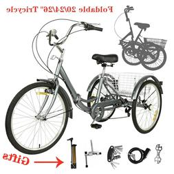 "20/24/26"" Foldable Adult 7-Speed Tricycle 3 Wheels Trike Bic"