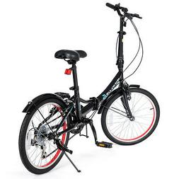 "20"" Lightweight Adult Folding Bicycle Bike w/ 7-Speed Dual V"