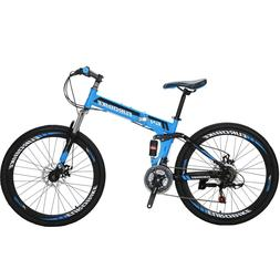 "26"" Folding Mountain Bike Full Suspension  21 Speed School B"