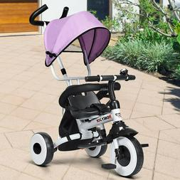 4 in1 Pink Tricycle Girls Bike Stroller Canopy Toy Bicycle O