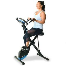 EXERPEUTIC Bluetooth Folding Upright Bike with Adjustable Re