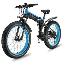 CYRUSHER Folding Electric Bike Mountain E-Bike 27 Speeds 100