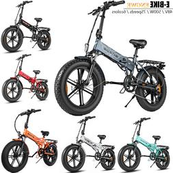 ENGWE 48V 500W Folding Fat Tire Electric Bicycle Dual Disc C
