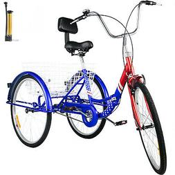 Foldable Tricycle Adult 26'' Wheels Folding Tricycle 1-Speed