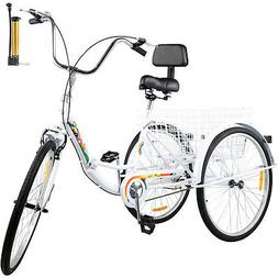 Foldable Adult Tricycle Folding Adult Trike 26'' 1 Speed Whi