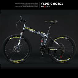 Foldable Mountain Bike 21 Speed Full Suspension Bicycles 26""