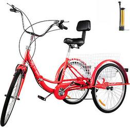 Foldable Adult Tricycle Folding Adult Trike 26'' 7 Speed Red