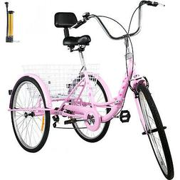 Foldable Adult Tricycle Folding Adult Trike 24'' 7 Speed Pin