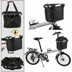 Folding Bicycle Basket Small Pet Cat Dog Carrier Front Bike