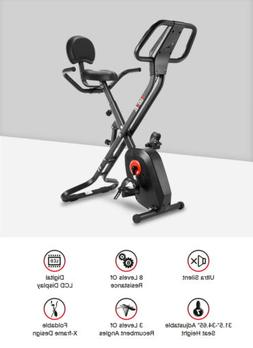 Folding Exercise Stationary Bike Indoor Cycling LCD Training