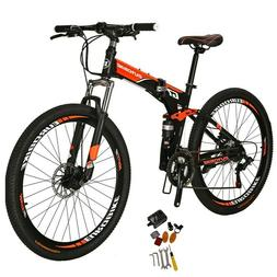 "Folding Mountain Bike Full Suspension 27.5"" 21 Speed Disc Br"