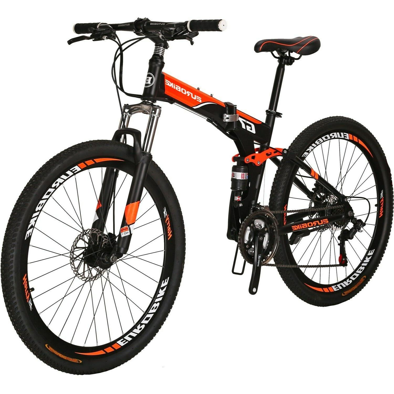 "27.5"" Folding Mountain Bike 21 Speed Full Suspension Foldabl"