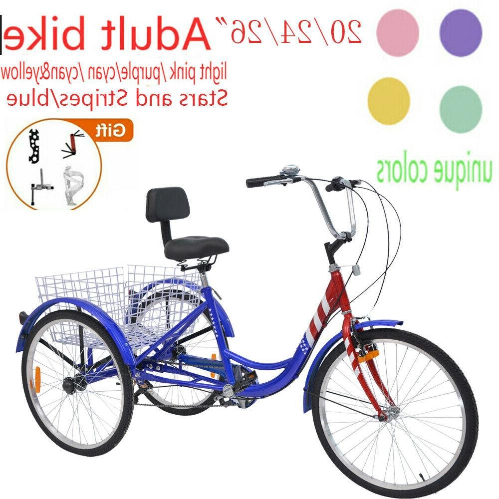 """26""""/24""""/20"""" Adult Tricycle Trike W/Large Size Basket &Gift f"""