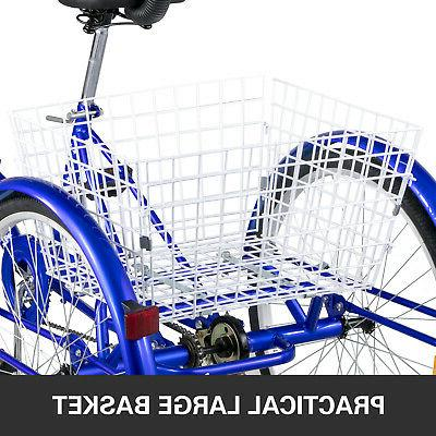 Foldable Tricycle Adult Wheels Tricycle 1-Speed 3 Blue Bikes