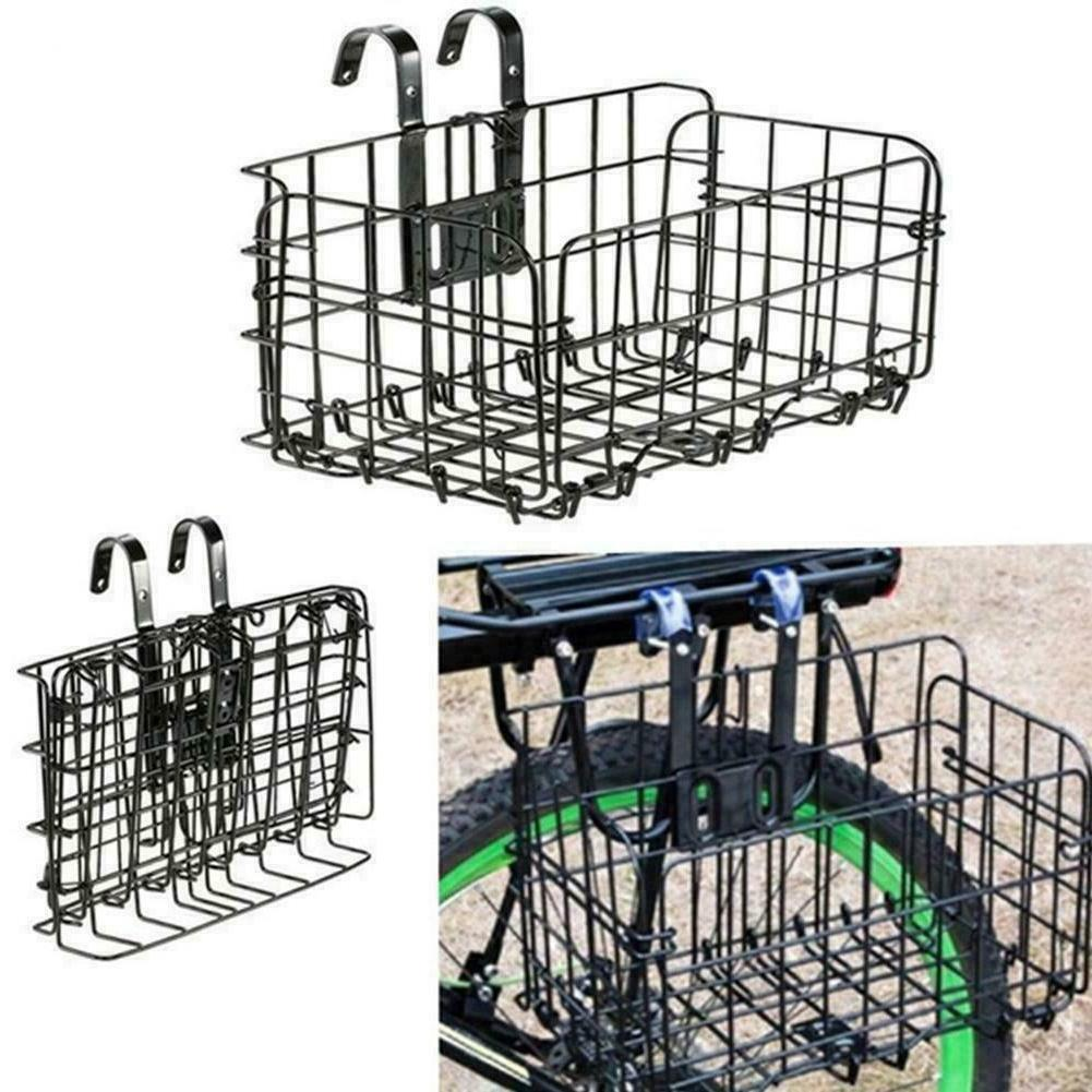 Foldable Bicycle Bike Basket Front Rear Metal Wire Carrier H