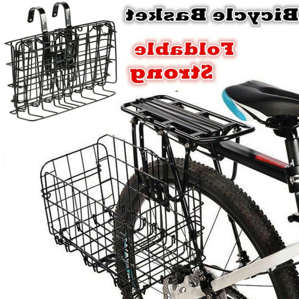 Foldable Bike Bicycle Metal Wire Basket Front Rear Sides Han