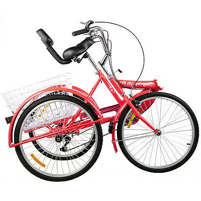 Foldable Tricycle Adult Wheels 7-Speed 3 Bikes