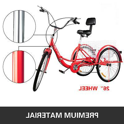 Foldable Adult 26'' Wheels Adult Tricycle 7-Speed Wheel Bikes