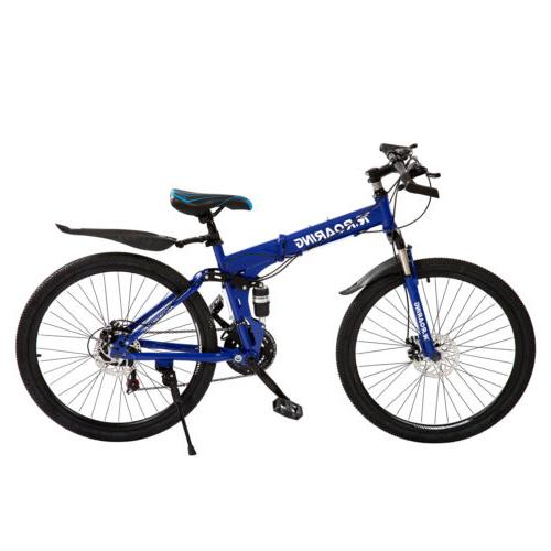 Folding Mountain 21 Speed Bikes Bicycle with Blue