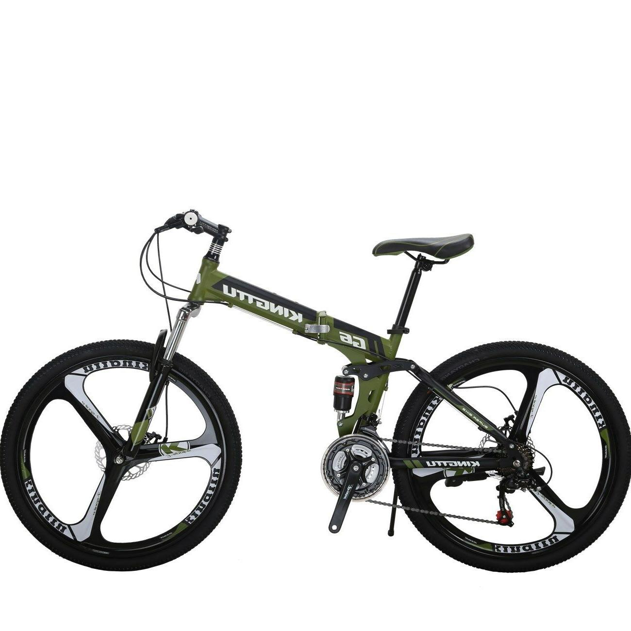 "G6 Mountain Bike 26"" 3 Spoke Wheel Full Suspension Folding 21 Speed Bicycle"