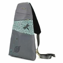 NEW Chala CV Escape RFID Small Sling Backpack DRAGONFLY Grey