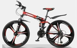 26in Adults Folding Mountain Bike, 21 Speed Outdoor Bicycle,