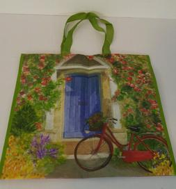 Rose Covered Cottage & Bike Reusable Eco Friendly Tote Shopp