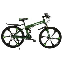 Unisex 26inch Folding Mountain Bike 21 Speed Bicycle Suspens